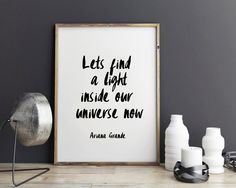 New to StyleScoutDesign on Etsy: Ariana Grande song quotes song lyric art wall art print canvas art custom - Focus Let's find a light inside our universe now (5.44 USD)