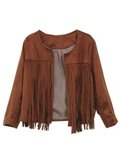 Casual Long Sleeve Tassels Fringed Faux Suede Leather Jacket  - Gchoic.com