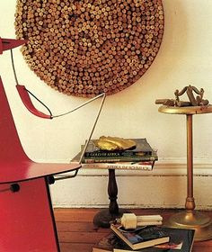 Simple use for a lot of cork. Create to hang on the wall, or for a table top covered with glass!