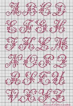 Sajou alphabet with flowers cross stitch chart