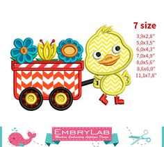 Applique Design Mini Spring Baby Duck Walking With by EmbryLab