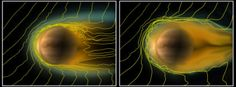 The tail of Venus and the weak solar wind - when a planet behaves like a comet by Adonai on September 19, 2013 Measurements obtained with ESA's Venus Express spacecraft have shed new light on the interaction between the solar wind and the second planet from the Sun. During a rare period of very low density solar outflow, the ionosphere of Venus was observed to become elongated downstream, rather like a long-tailed comet.