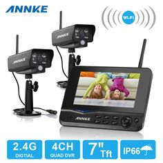"""(223.25$)  Watch more here - http://ai4f8.worlditems.win/all/product.php?id=32675085628 - """"ANNKE 4CH WIFI DVR Security CCTV IP Camera System Digital Wireless Surveillance Kit Baby Monitor 7"""""""" TFT LCD +2 Cameras"""""""