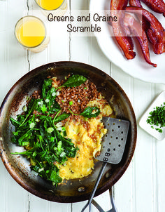 Add greens and grains to an egg scramble.