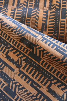 Mociun Hand Printed Fabric - why choose between stripes and chevron pattern when you can have both.