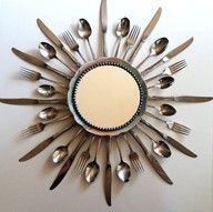 Vintage Silverware Starburst Mirror for Dining Room or Kitchen