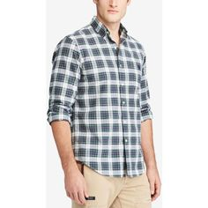 Polo Ralph Lauren Men's Iconic Plaid Oxford Shirt ($90) ❤ liked on Polyvore featuring men's fashion, men's clothing, men's shirts, men's polos, mens pastel shirts, polo ralph lauren mens shirts, mens plaid polo shirts, mens oxford shirts and mens patterned shirts