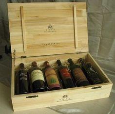 6 bottle wooden wine box
