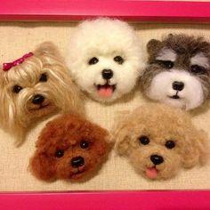 Needle felted dog heads https://www.etsy.com/listing/105537460/needle-wool-felt-puppy-head-magnets-for #feltedpuppy