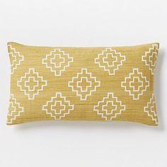 Living Room Throw Pillow Idea  Hand-Blocked Stepped Diamond Pillow Cover – Horseradish #westelm