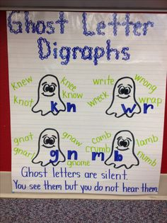 Ghost Letter Digraphs Anchor Chart by Alexandra DePaolo. This is an amazing way to teach about ghost letters and help kids remember when they are writing with them. First Grade Phonics, First Grade Reading, Teaching Phonics, Teaching Reading, Kindergarten Reading, Word Study, Word Work, Reading Skills, Reading Intervention