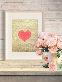 Red heart, love print, gold home decor wall art, printable heart, digital gold decor, heart shape art, love, printable romantic gift for her