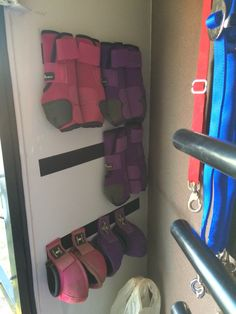 Excellent way to store sport boots and bell boots in the trailer!