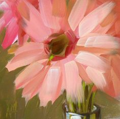 gerbera daisies original painting by moulton 5 x 5 inches. $30.00, via Etsy.