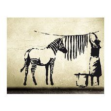 Wandtattoo BANKSY Zebra-Waschstation - wall sticker decal