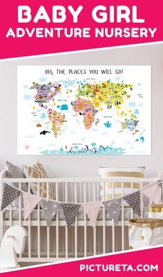 Create travel nursery for girl with Pictureta's world map for girls. I wish I had this map when growing up. It is full of adorable animals and famous landmarks and looks awesome in my baby girl's nursery. Get yours at PICTURETA.