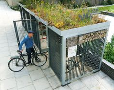 Green Roofed Cycle Shelter Pergola, Cycle Shelters, Bike Shelter, Green Roof System, Range Velo, Living Roofs, Living Walls, Bicycle Storage, Bike Shed