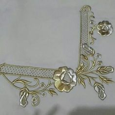 This Pin was discovered by İmr Cutwork Embroidery, Couture Embroidery, Embroidery Needles, Machine Embroidery Patterns, Embroidery Designs, Pewter Metal, Brazilian Embroidery, Gold Work, Ribbon Work