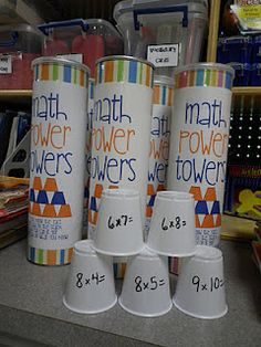 Math power towers, pull out a cup solve problem stack it up. Write answer on the inside for self check. You can make them for multiplication, division, addition or subtraction. Whoever has the biggest structure wins. Teaching Multiplication, Teaching Math, Multiplication Tables, Multiplication Problems, Multiplication Strategies, Fractions, Teaching Ideas, Math Stations, Math Centers
