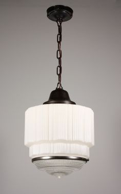 Perfect Sample Art Deco Pendant Light Canopy Layered Durm Ideas Two Part Prismatic Shade Antique Lamp
