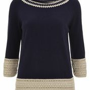 Navy and cream crochet jumper from Nougat Clothing