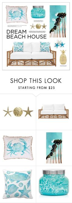 """""""Dream Beach House"""" by lgb321 ❤ liked on Polyvore featuring interior, interiors, interior design, home, home decor, interior decorating, Fetco, Serena & Lily, Thro and PBteen"""