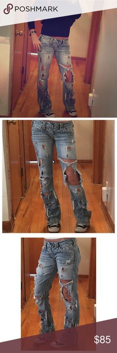 custom shredded silver jeans custom shredded/distressed/destroyed silver jeans. 33inseam. super low rise. these are badass & super sexy i don't know why im trying to part with them really... scoop them up before i change my mind 😍 Silver Jeans Jeans