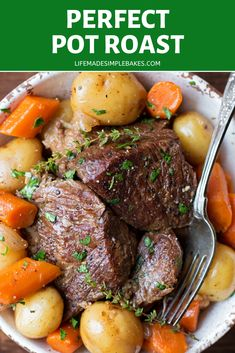 A simple yet perfect pot roast with carrots, potatoes, onions, fresh herbs and roasted garlic. It's tender, flavorful and requires just one pot! Perfect Pot Roast, Roasted Garlic, Fresh Herbs, Food Print, Make It Simple, Food Processor Recipes, Onions, Veggies, Vegetarian