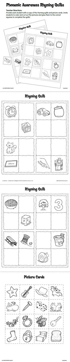 Phonemic Awareness Rhyming Quilts Printable- This awesome activity encourages children to work with rhyming words. They color the pictures, cut them out, and match the pictures they've cut to the corresponding rhyming word. It is a simple, but very effective activity for young children!
