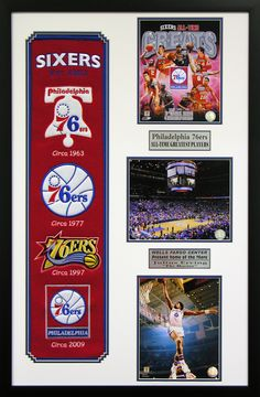 Philadelphia 76ers NBA Heritage Wall Art. Perfect decor for a man cave, basement or office! Great gift for the sports fan in your life.