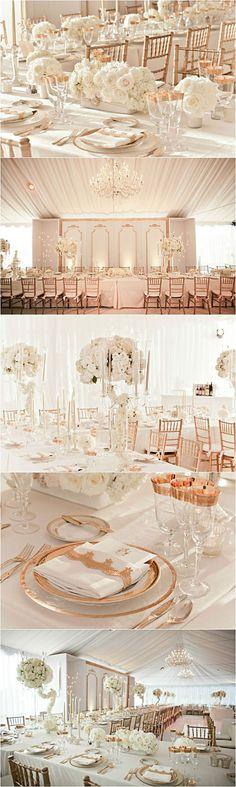 Elegant Princess Wedding-White wedding inspiration with rose gold metallic accents Wedding Goals, Wedding Themes, Wedding Colors, Wedding Decorations, Gold Decorations, Decor Wedding, Wedding Centerpieces, Rose Wedding, Wedding Flowers