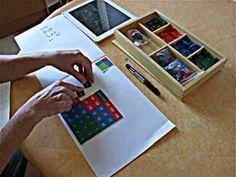Elevar un número al cuadrado con el material Montessori.