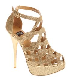 Gold Glitter Siane Strappy Heels by N.Y.L.A. shoes - hot!