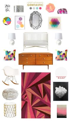 gemstone baby nursery inspiration with pops of berry. #BRITAXstyle