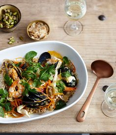 Australian Gourmet Traveller recipe for seafood khoresh by Peel St, Adelaide. Seafood Dishes, Fish And Seafood, Seafood Recipes, Gourmet Recipes, Healthy Recipes, Healthy Food, Healthy Eating, Cooking Recipes, Kitchens