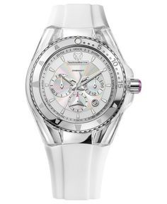 TechnoMarine Watch, Womens Swiss Chronograph Cruise Lipstick White Silicone Strap 40mm 112033 - TechnoMarine - Jewelry & Watches - Macys