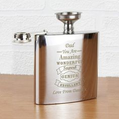 Personalise this Vintage Typography Hip Flask with a name to be followed by the fixed text 'You Are Amazing WONDERFUL Superb GENIUS EXCELLENT' and then a message of your choice. Each flask comes with a stainless steel funnel and is presented in a gift box. An ideal Father's day gift.
