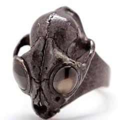 Black Gem Set Eyed Bobcat Wild Cat Skull Ring