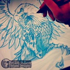 Flyland Designs, Freelance Illustration and Graphic Design by Brian Allen - Eagle Tattoo Forearm, Eagle Tattoos, Tattoo Sketches, Tattoo Drawings, Sketch Drawing, Sketching, Bird Drawings, Cool Drawings, Eagle Sketch