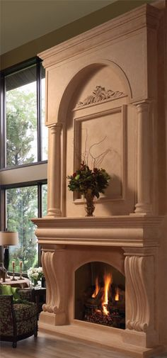 COLONIAL cast stone fireplace overmantel