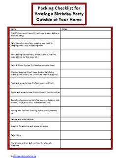 Party Spotlight Party In The Park Checklist  Free Printable