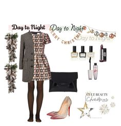 """Day to wonderful night"" by paulinemopps ❤ liked on Polyvore featuring Fogal, Givenchy, RED Valentino, Pink Tartan, Christian Louboutin, Balmain, Rimmel, DwellStudio and Threshold"