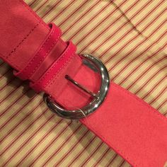 """Benetton pink leather belt Still has the tag on indicating size, but not price. Like new, silver tone buckle, genuine pink leather (not sure where these pink cows are), just over 2"""" wide, 39"""" long United Colors Of Benetton Accessories Belts"""