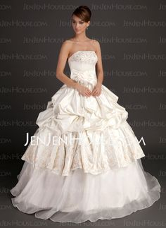 Wedding Dresses - $212.99 - Ball-Gown Strapless Floor-Length Organza Satin Wedding Dress With Embroidery Beadwork Flower(s) (002015516) http://jenjenhouse.com/Ball-Gown-Strapless-Floor-Length-Organza-Satin-Wedding-Dress-With-Embroidery-Beadwork-Flower-S-002015516-g15516