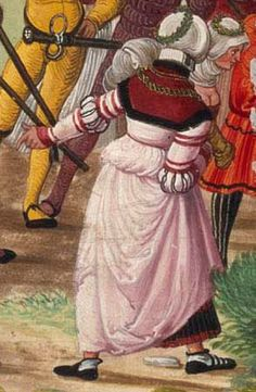 c. 1501 Hans Burckmaier - Triumph of Maximilian I, copy that is in the Biblioteca Nacional de Espana in Madrid. Second file link PAGE 50 detail pink gown