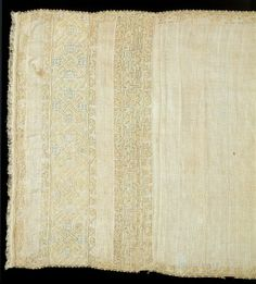 Towel     Place of origin:     Italy (made)     Date:    1500-1550 (made) Materials and Techniques: Linen diaper embroidered with silk, with silk braid and fringe