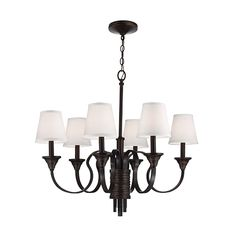 Arbor Creek Bronze and Weathered Brass Six-Light Chandelier with Ivory Linen Fabric Shade