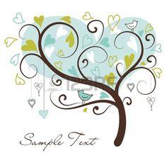 árbol de amor estilizado de corazones con dos pájaros Foto de archivo - 10937273