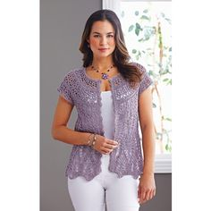 bbe2891ec4 Mary Maxim - Light and Lacy Cardigan - Crochet Sweaters - Sweaters - Knit    Crochet