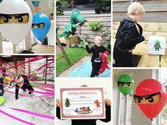 Plus gratis printables! Lego Ninjago, Ninjago Games, Ninjago Party, Ninja Birthday, Birthday Ideas, Niklas, Pokemon, Kids Party Games, Party Time